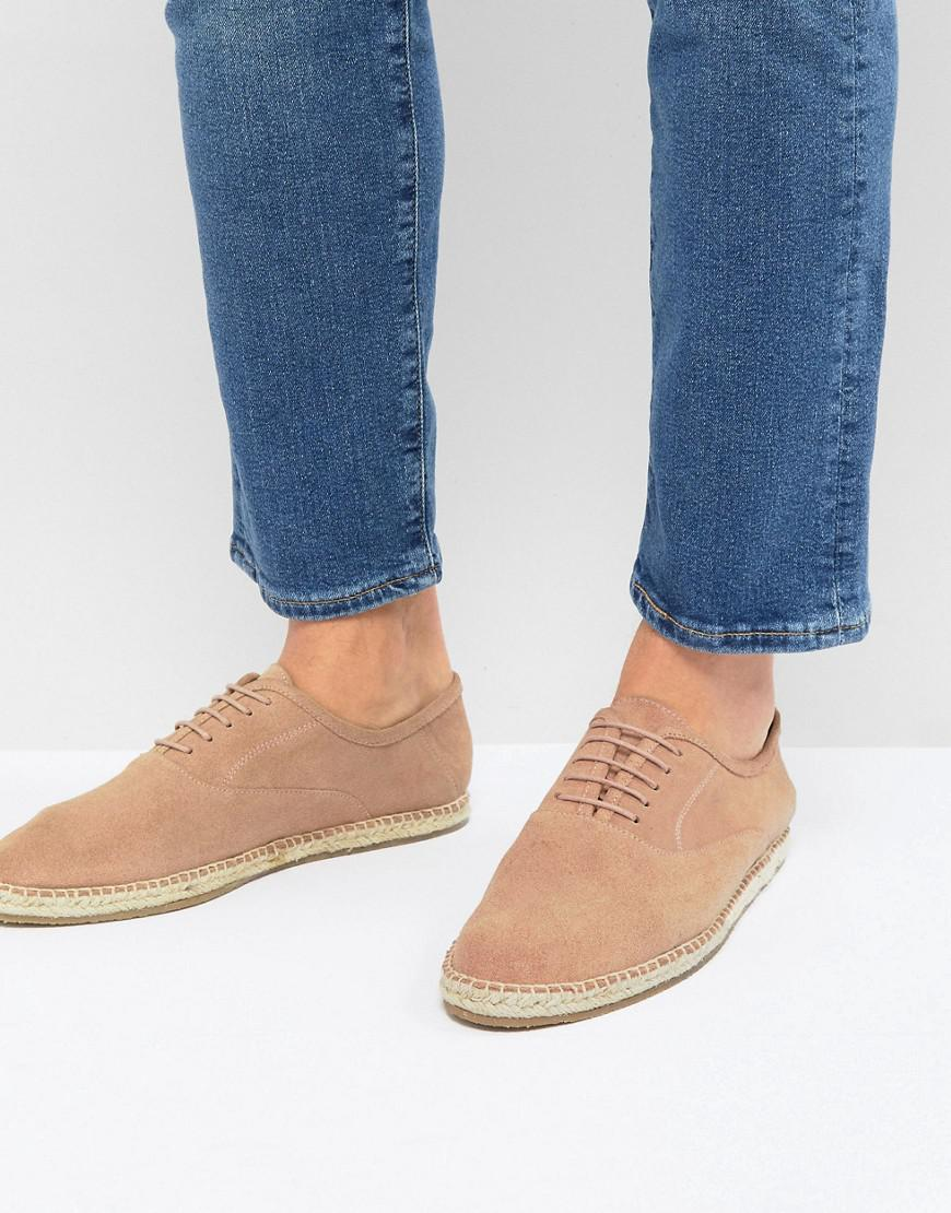 Frank Wright Wide Fit Lace Up Espadrilles In Suede LCLz54qJ3