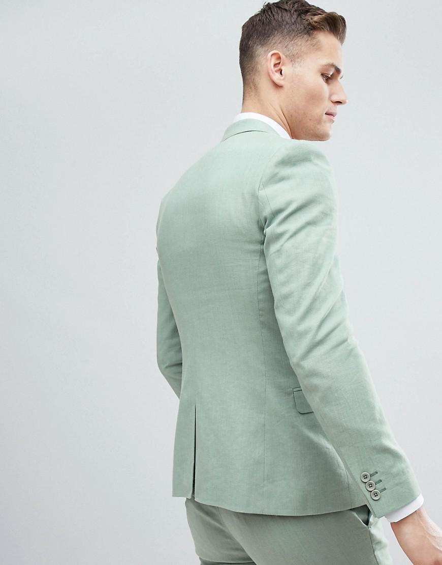 Lyst - Asos Design Wedding Super Skinny Suit Jacket In Sage Green ...