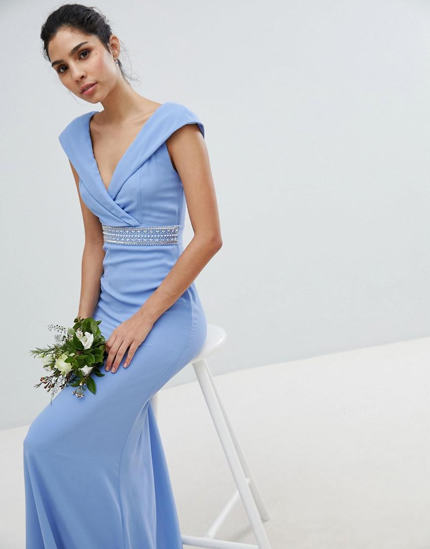 f6ebd32d9ff TFNC London. Women s Blue Bardot Maxi Bridesmaid Dress With Fishtail And  Embellished Waist