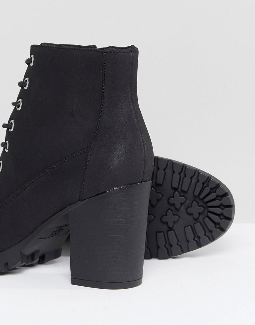 New Look Lace Up Cleated Sole Heeled Ankle Boot 06XHWszo