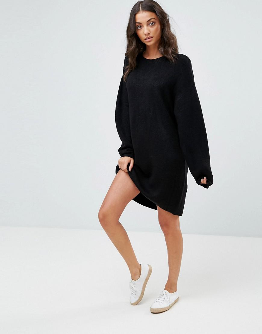 0d71c3936ef5 Lyst - ASOS Knitted Dress With Crew Neck In Fluffy Yarn in Black