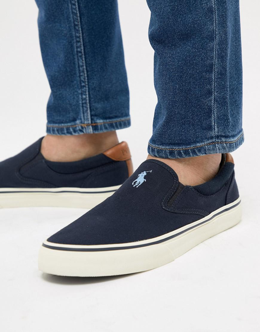 Polo Ralph Lauren. Men's Blue Thompson 2 Pique Slip On Plimsolls Leather  Trims In Navy