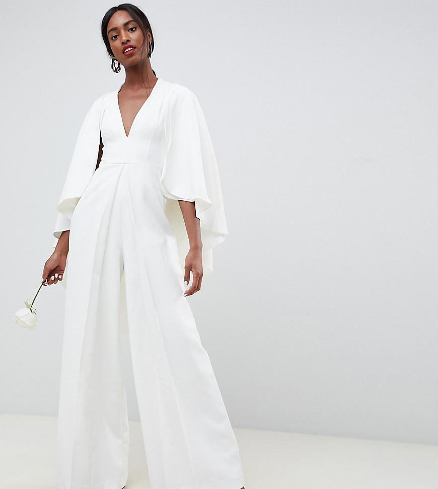 1beafd2252a ASOS Asos Edition Tall Cape Wedding Jumpsuit in White - Lyst