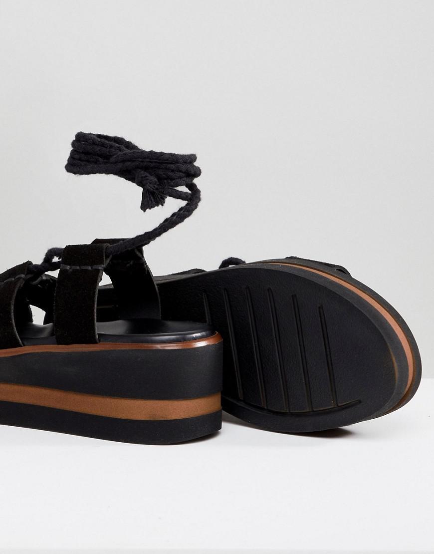 0cbbfc7f0fa Lyst - ASOS Design Test Suede Tie Leg Flatforms in Black