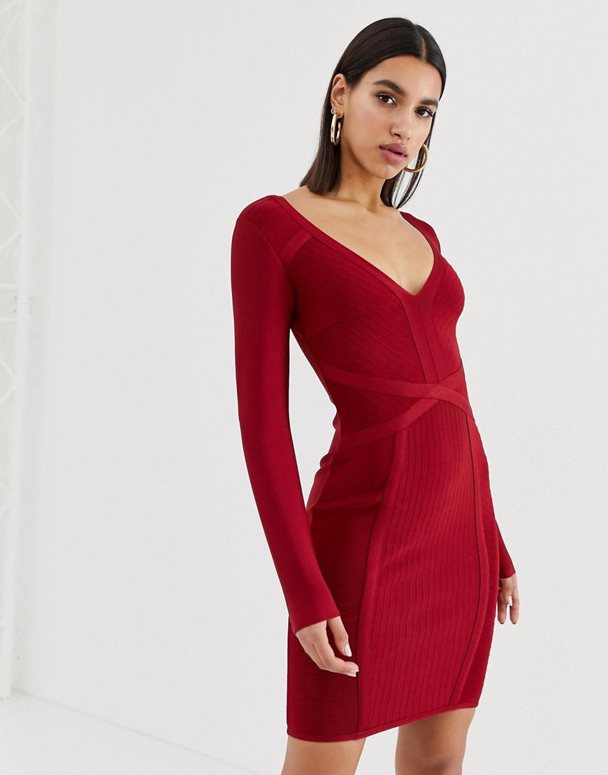 765f896b1d Lyst - Lipsy V Neck Bandage Dress In Red in Red