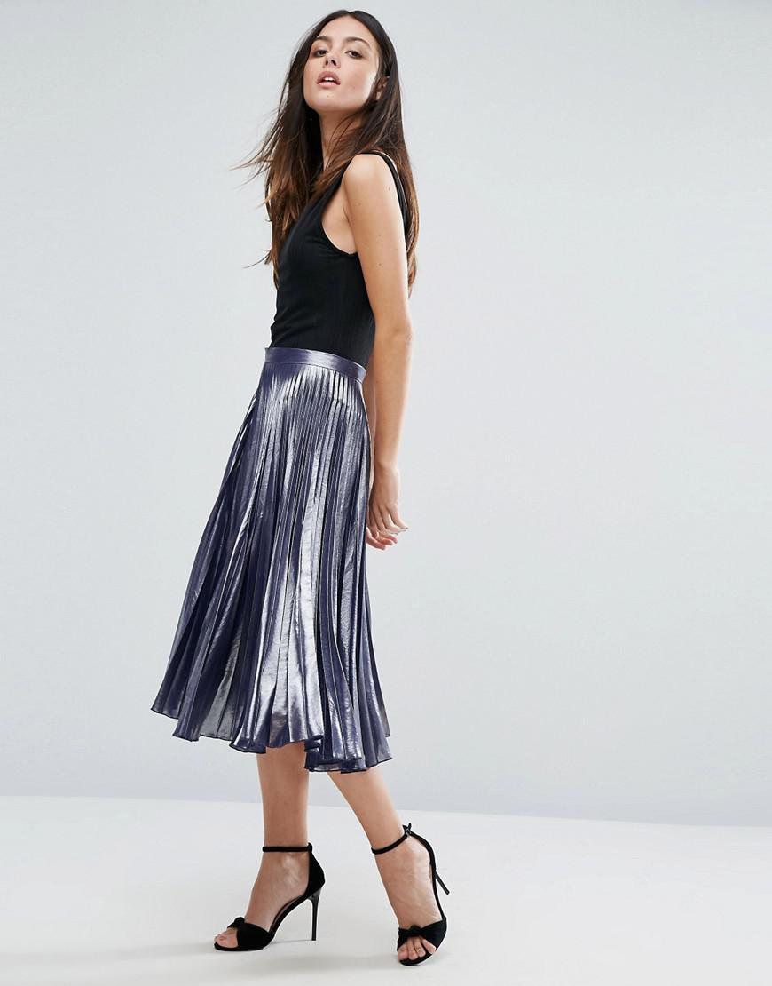 Warehouse Metallic Pleated Midi Skirt In Black Lyst