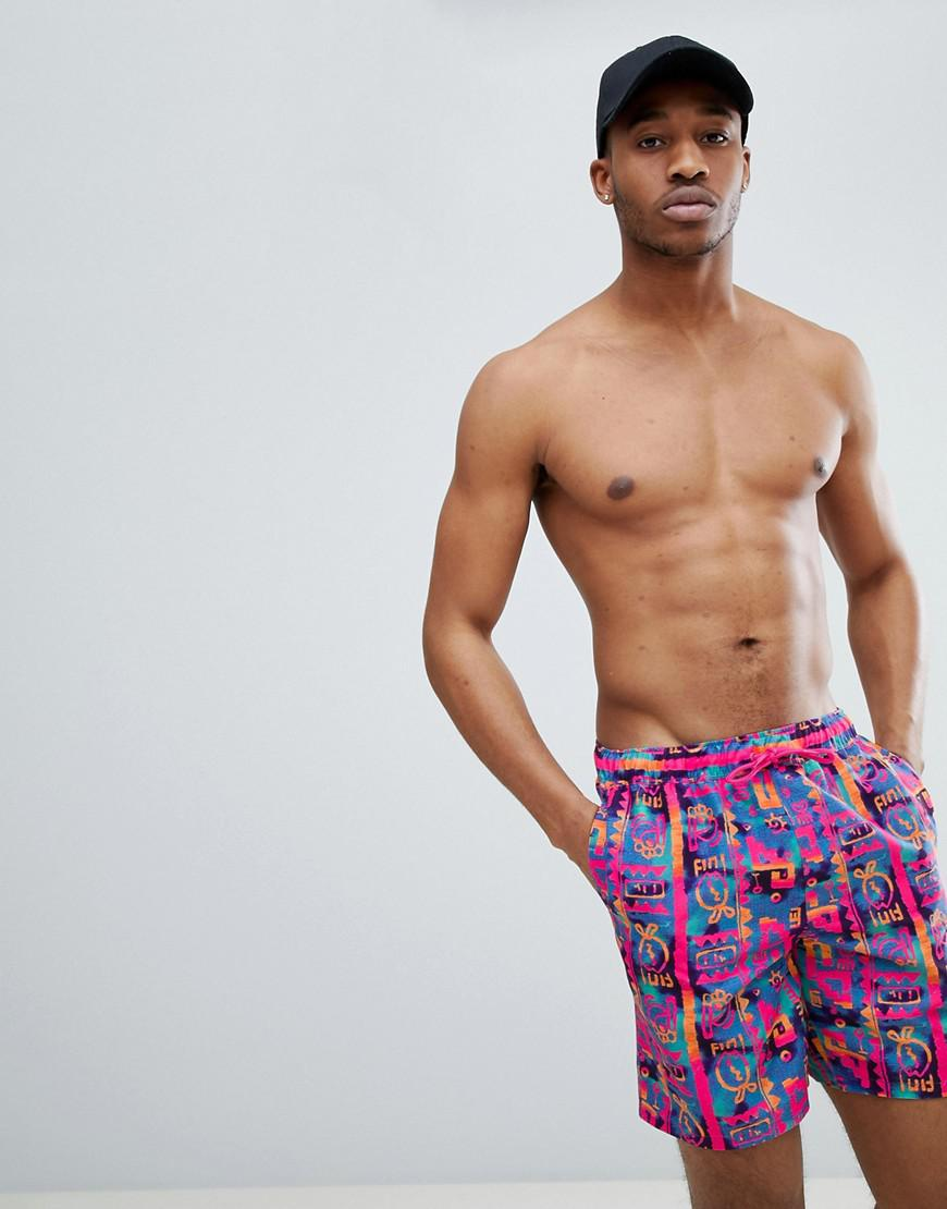 DESIGN Swim Shorts In Cut & Sew With Aztec Print In Mid Length - Navy Asos Sale Pick A Best kDd5Uj