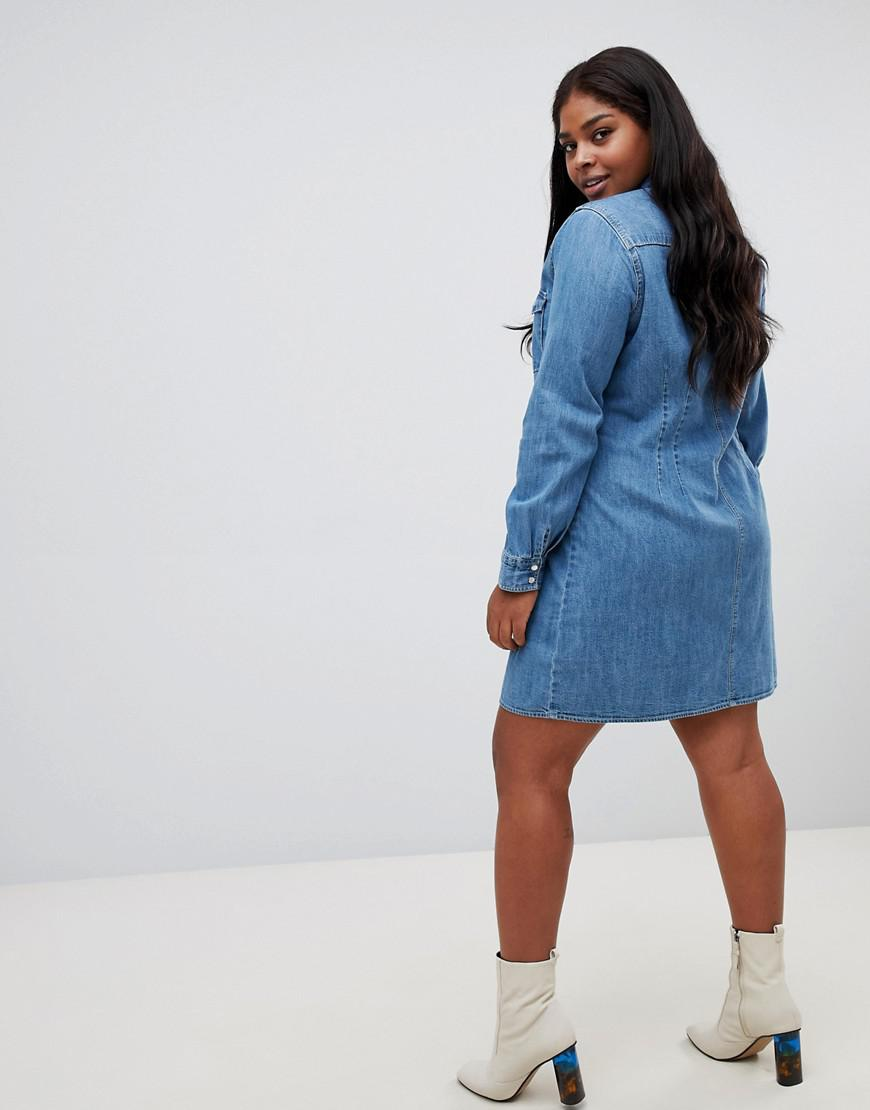 e1f8cca48cf Lyst - ASOS Asos Design Curve Denim Fitted Western Shirt Dress With Seam  Detail in Blue