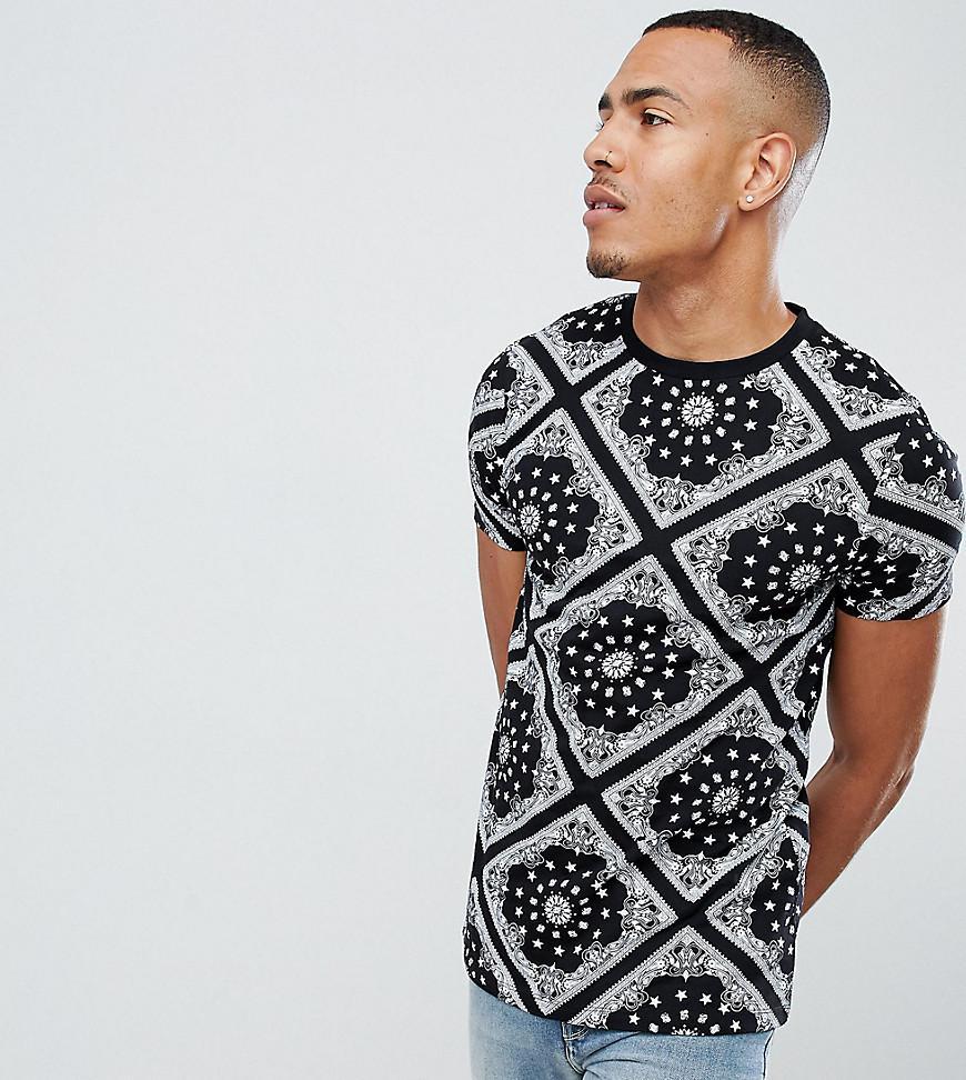 c65595c0ce3 ASOS - Black T-shirt With All Over Bandana Print for Men - Lyst. View  fullscreen