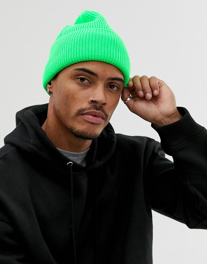 054f4762886 ASOS Neon Green Beanie in Green for Men - Lyst