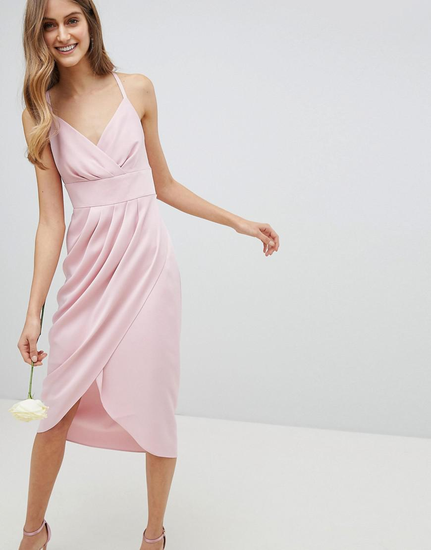 5ed42871e Lyst - Ted Baker Tie The Knot Drape Midi Dress in Pink