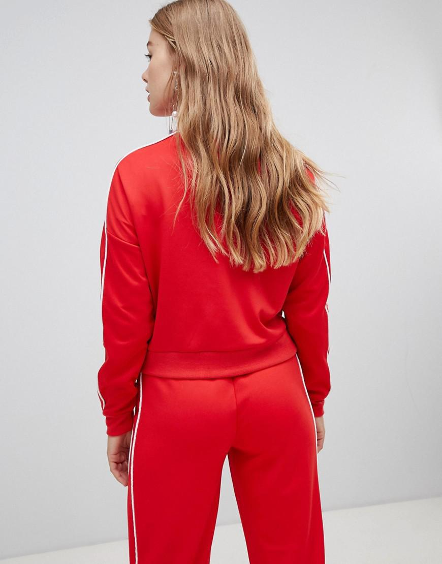 f482e163bdf09 Lyst - New Look Piped Ring Pull Sweat Top Two-piece in Red