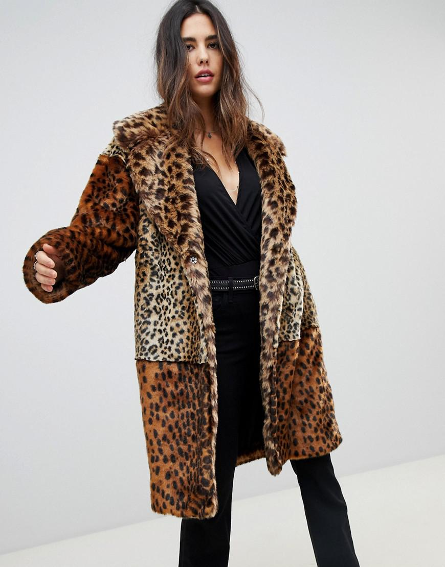 13813d8faf42 Lyst - Blank NYC Faux Fur Leopard Print Coat in Brown