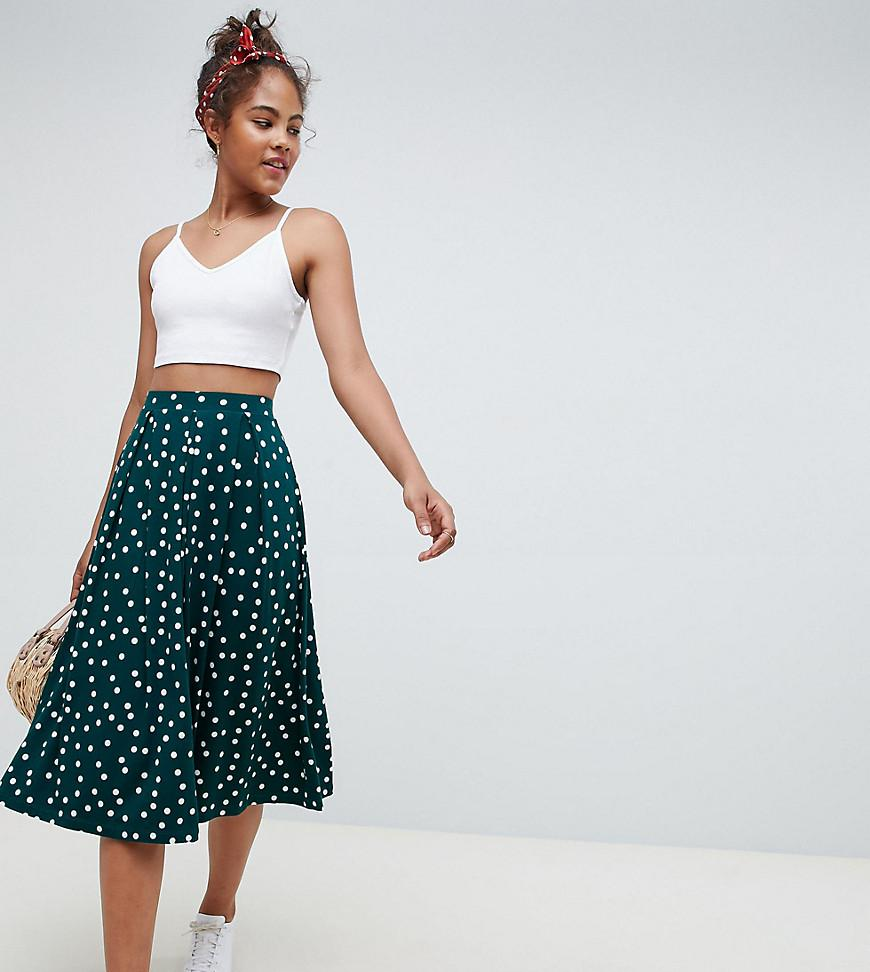 06e9e7229d8e Lyst - ASOS Asos Design Tall Midi Skirt With Box Pleats In Polka Dot ...