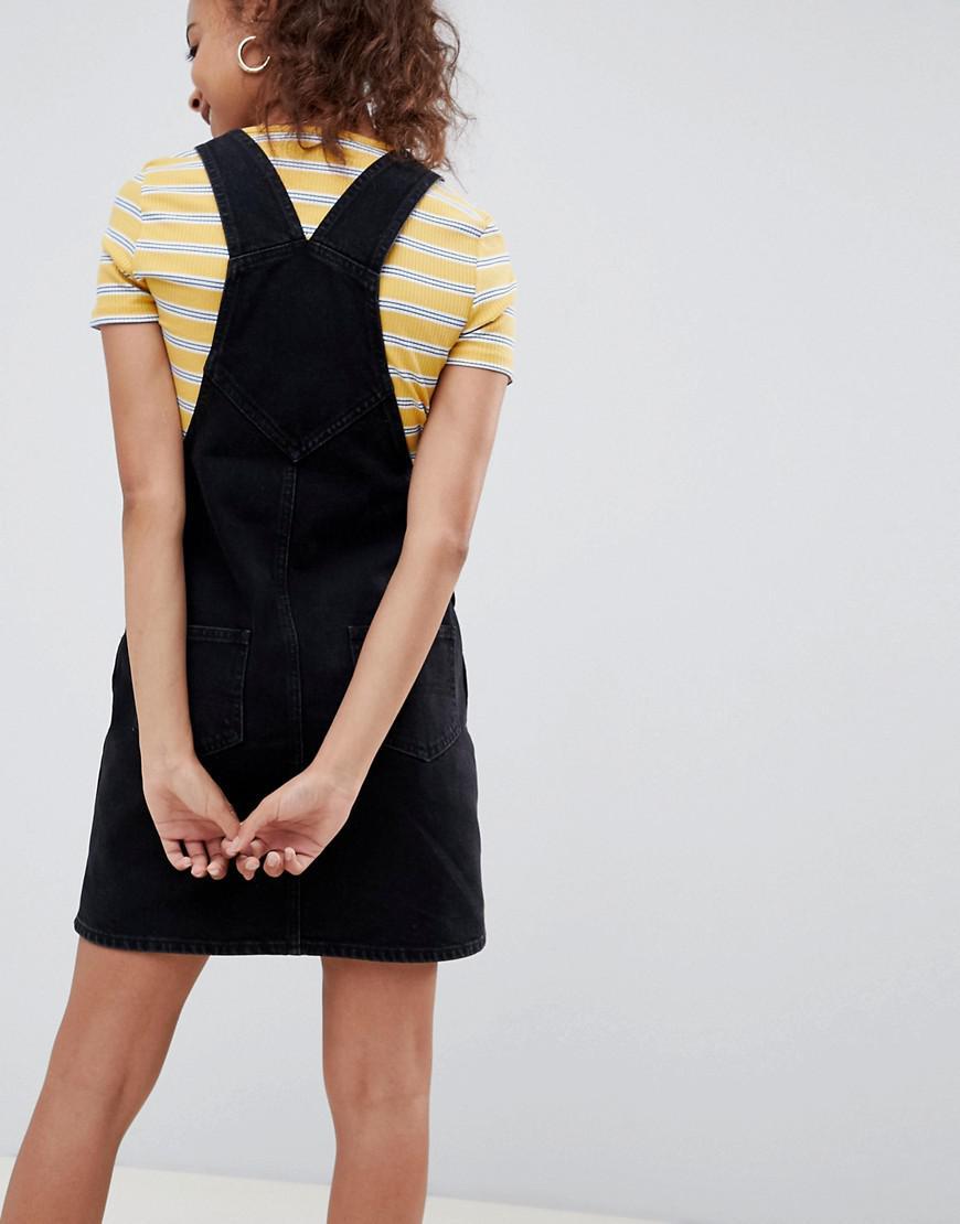 b6633ca8b68 Lyst - ASOS Asos Design Petite Denim Dungaree Dress In Washed Black in Black