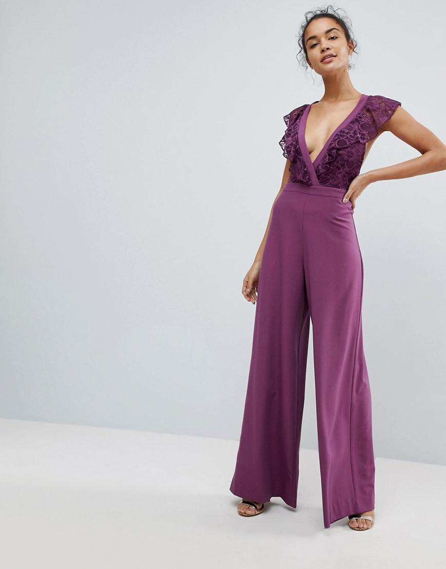 544b38a01bc Lyst - ASOS Asos Wrap Lace Jumpsuit With Wide Leg in Purple