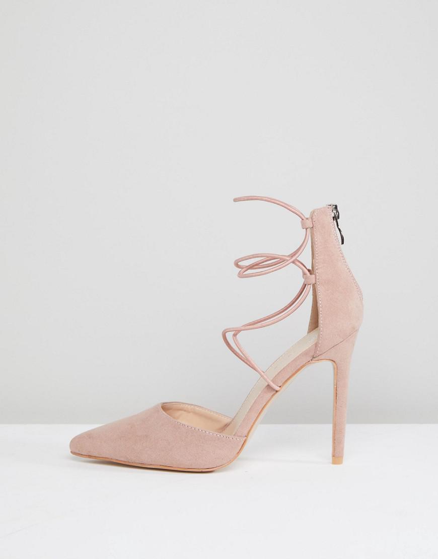 4d2e2bdc759 Lyst - Public Desire Volt Tie Up Heeled Shoes in Natural