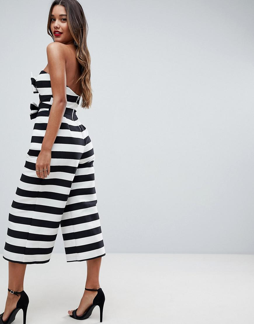 db6e27a8bc16 ASOS Asos Bow Jumpsuit In Structured Fabric In Stripe in Black - Lyst