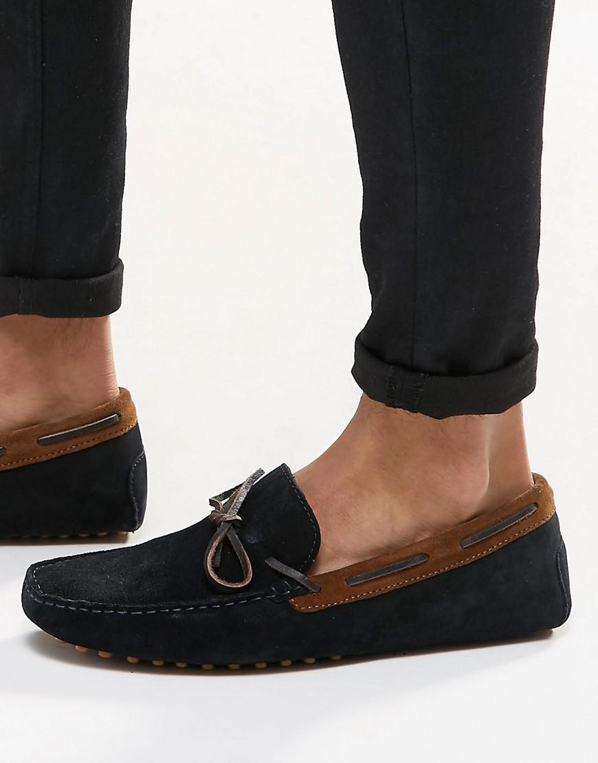 Wide Fit Driving Shoes In Navy Suede With Brown Leather Detail - Navy/tan Asos rqzBV7Ep