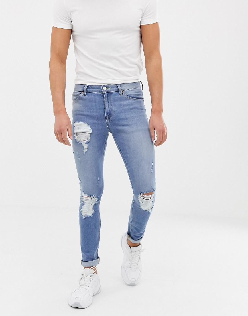 08adf205 ASOS. Men's Blue 12.5oz Super Skinny Jeans In Vintage Light Wash With Heavy  Rips