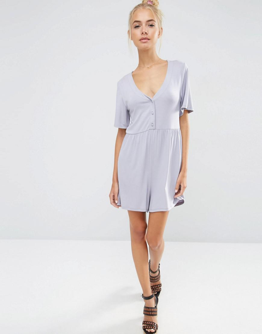 e78c6316e99 ASOS Jersey Smock Playsuit in Blue - Lyst