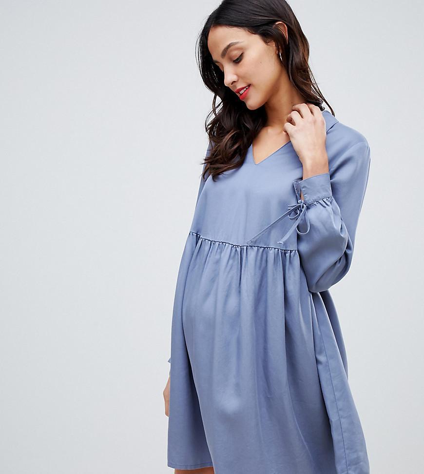 5b74520e91bca ASOS. Women's Gray Asos Design Maternity Casual Collared Smock Mini Dress