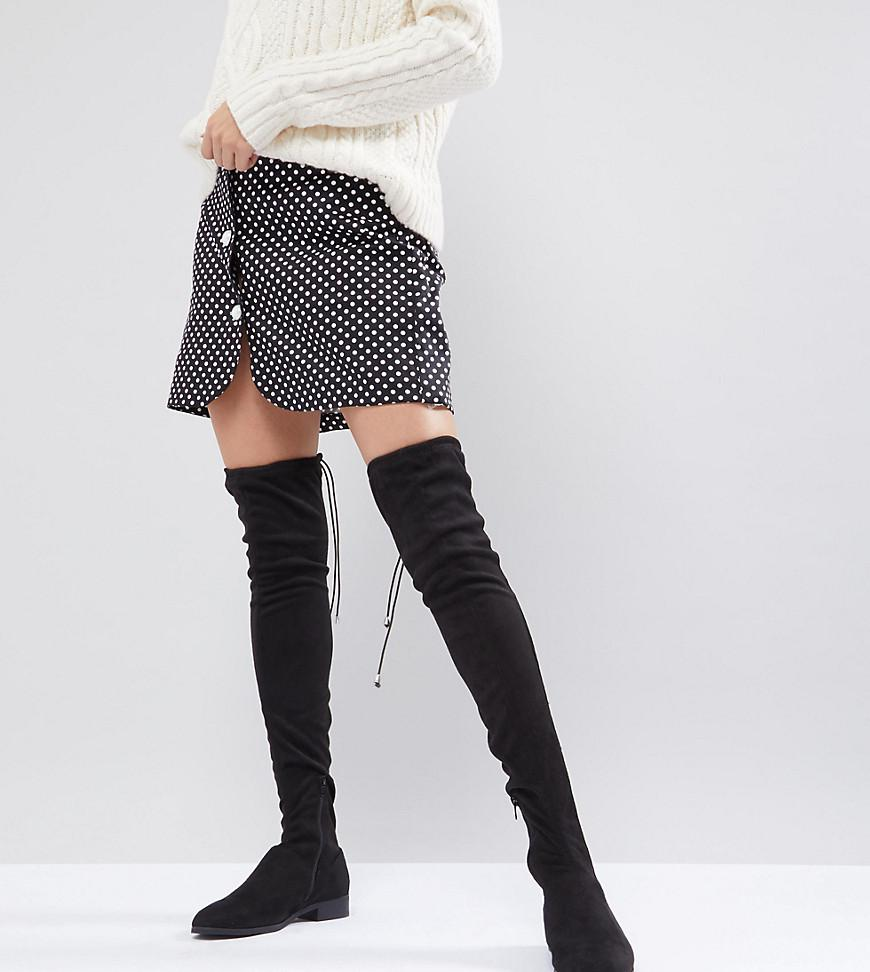 6e8a3dd1130 ASOS Asos Keep Up Flat Over The Knee Boots in Black - Lyst