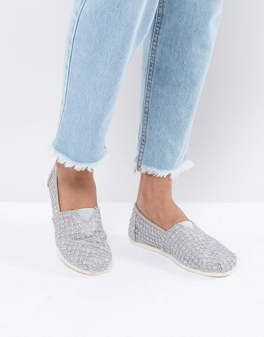 aaf0d034c06 Toms silver crochet lace shoes in metallic lyst jpg 870x1110 Jeans toms  crochet white