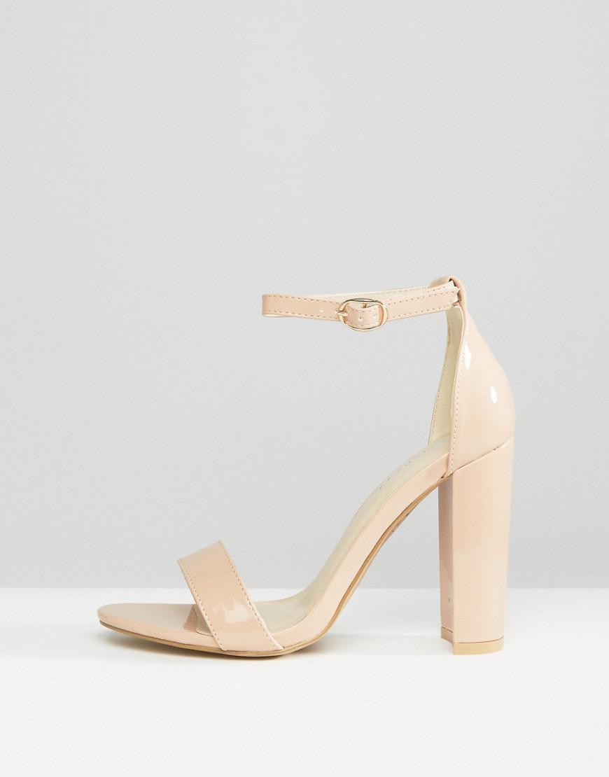 a9f4ede4c4 Glamorous Nude Patent Barely There Block Heeled Sandals in Natural - Lyst