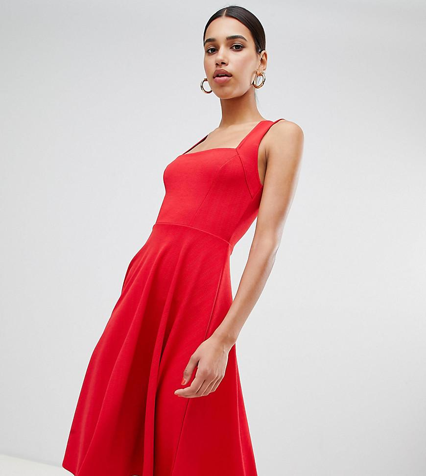 9b54f3b68e3f9 Lyst - Boohoo Square Neck Midi Skater Dress in Red