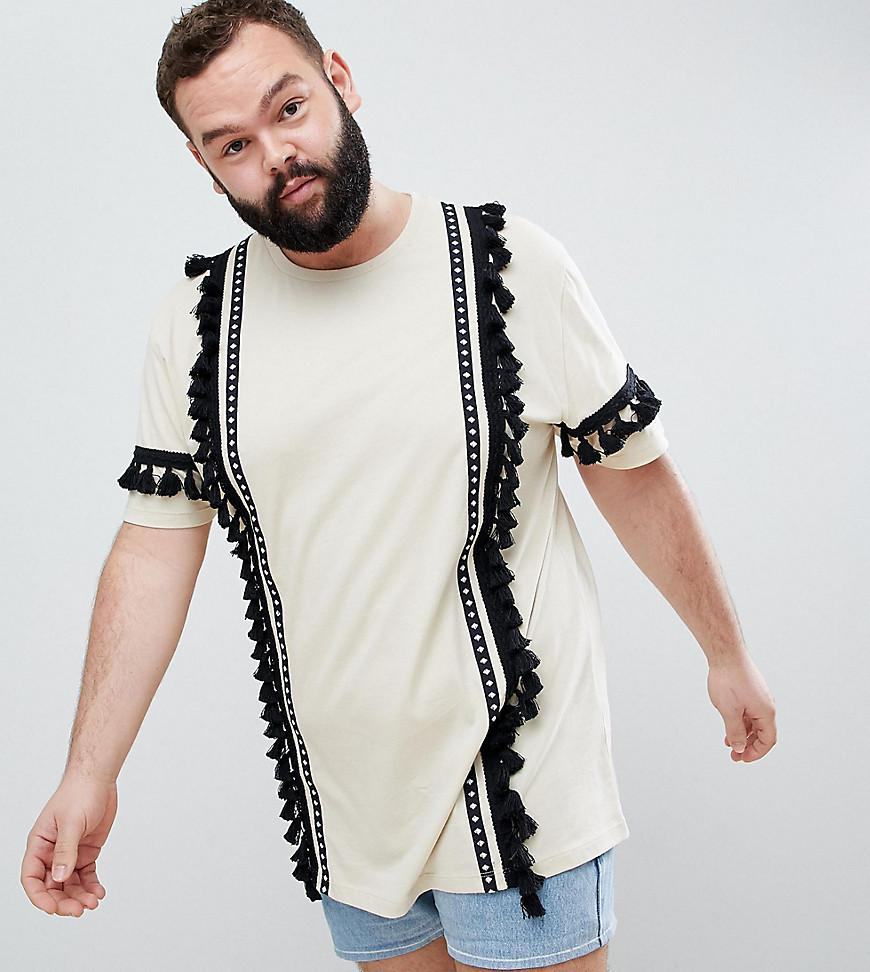 Big Sale DESIGN festival relaxed longline t-shirt with aztec taping and tassels in ecru - Ecru Asos 100% Authentic Cheap Online Amazon Online Perfect Free Shipping Real rYbfCuHll