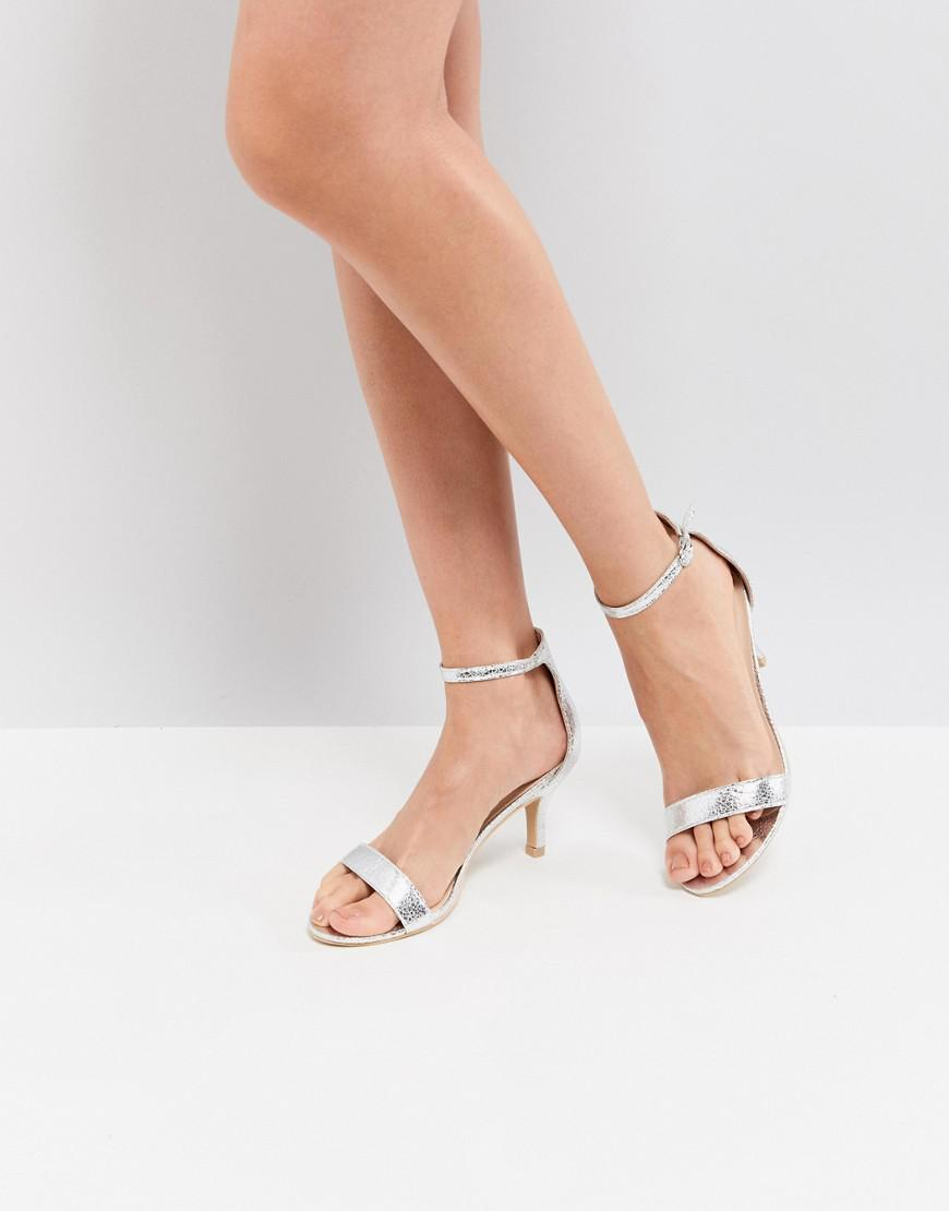 b5921209e52 Glamorous - Metallic Silver Barely There Kitten Heeled Sandals - Lyst. View  fullscreen