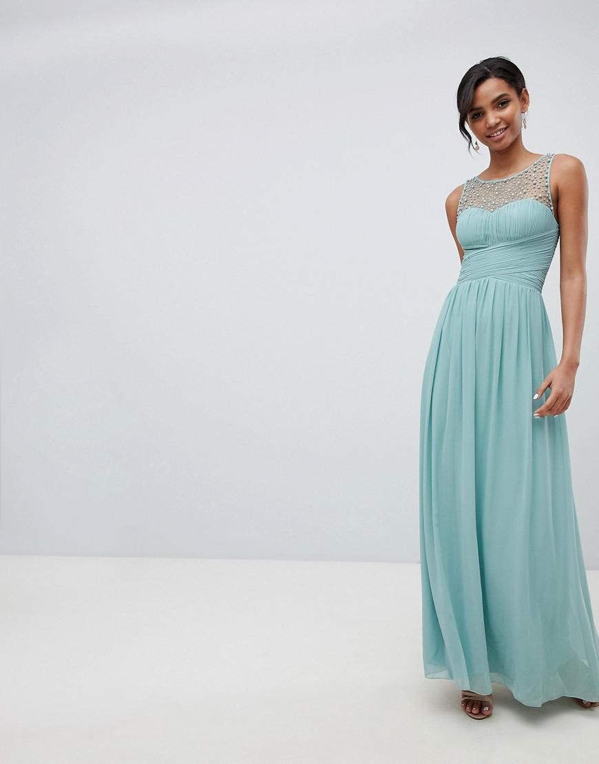 Lyst - Robe longue avec haut orn Little Mistress en coloris Vert 30160f449e1b