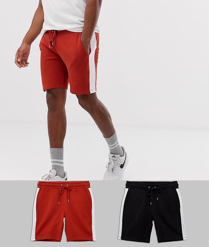 f1c736289 Pack de 2 pantalones cortos ajustados de punto con raya lateral en ...