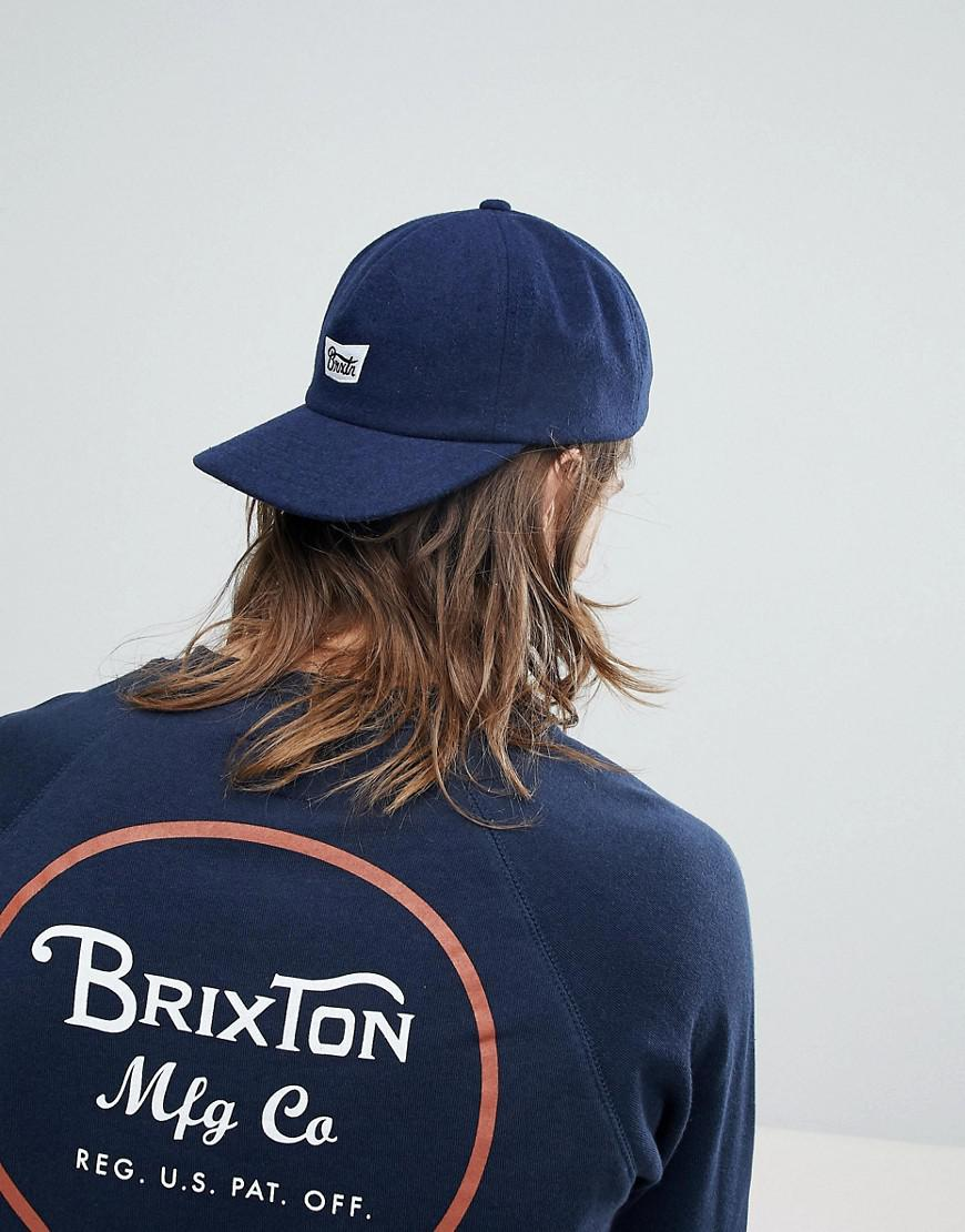 7682d50e57103 ... shopping brixton stith 5 panel cap with logo in blue for men lyst 29416  fb3b9