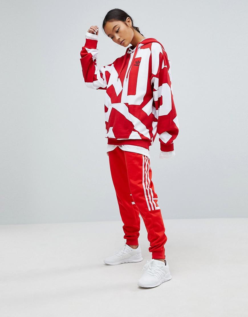54cb2c0b207 adidas Originals Originals Bold Age Graphic Print Hoodie in Red - Lyst