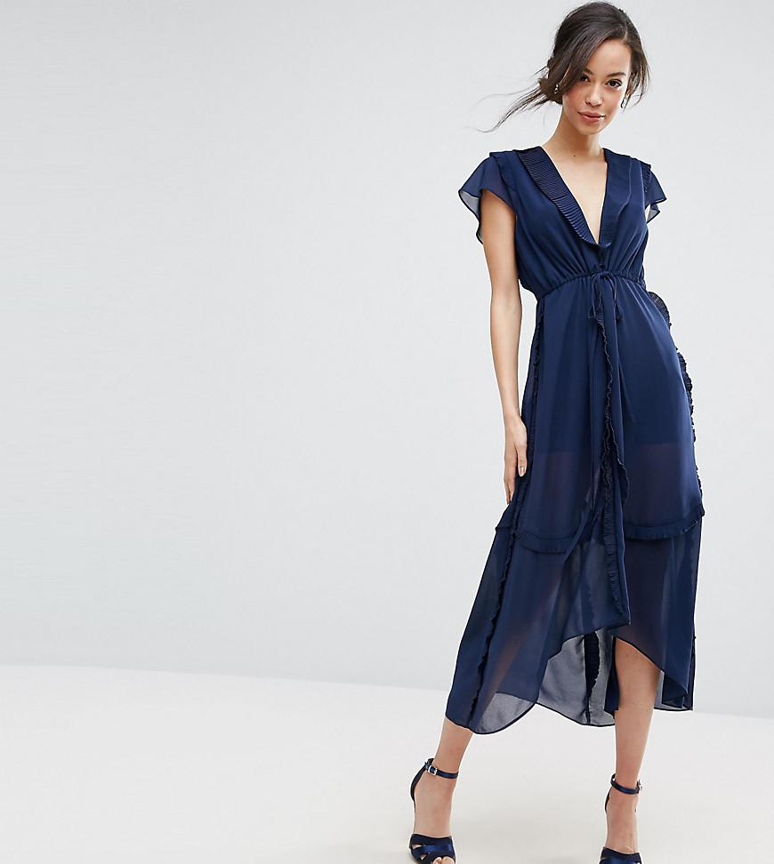 Trim Decadence Sleeve In Dress True Blue Midi Frill Lyst Flutter With 0OnPwk
