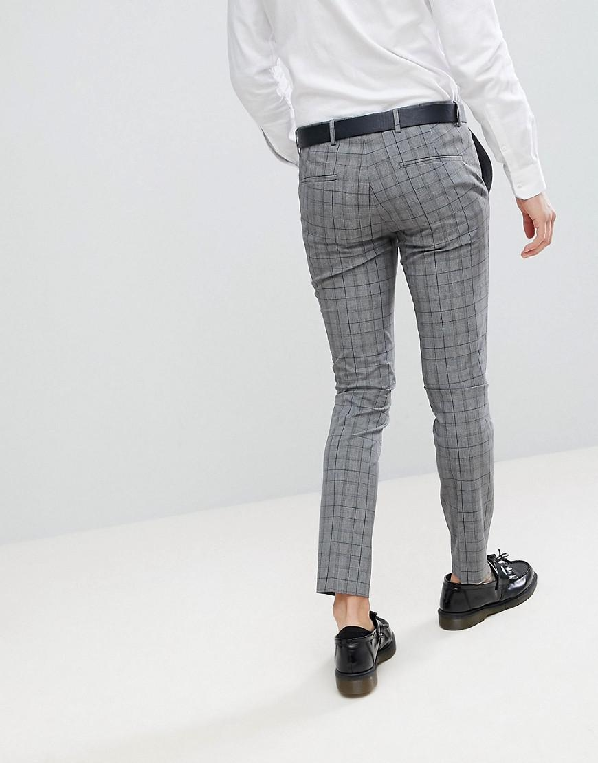 fd321d89 River Island Super Skinny Suit Trousers In Grey And Navy Check in ...