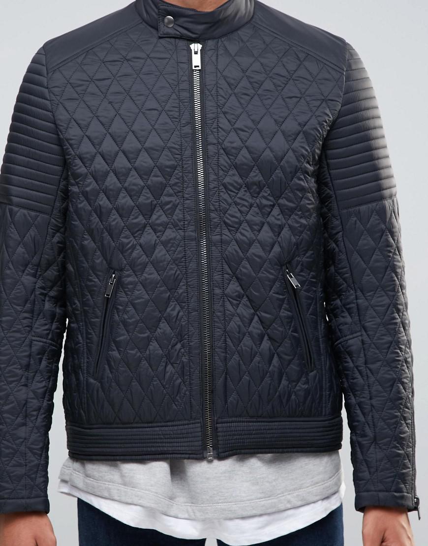 Lyst - Asos Quilted Racing Biker Jacket In Black in Black for Men : quilted racing jacket - Adamdwight.com