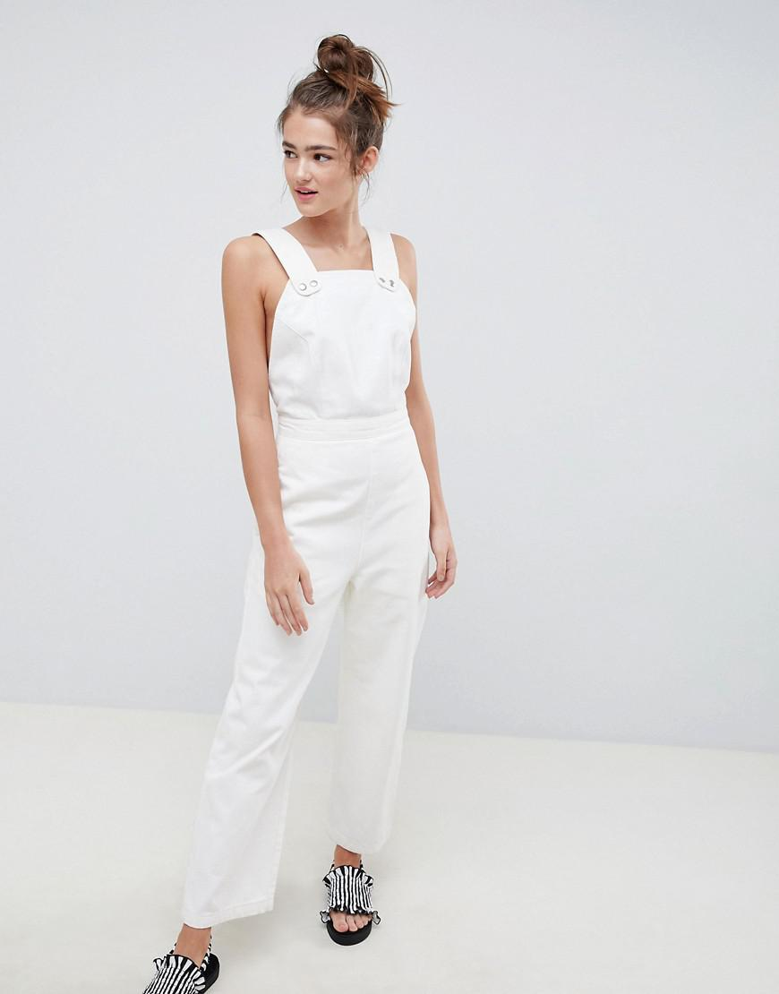 2a7e5585bc0f Lyst - ASOS Denim Jumpsuit In White With Popper Detail in White