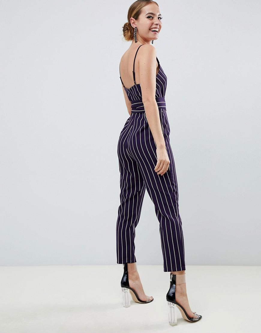 25c53253fbc Lyst - ASOS Asos Design Petite Wrap Jumpsuit With Self Belt In Navy Stripe  in Blue