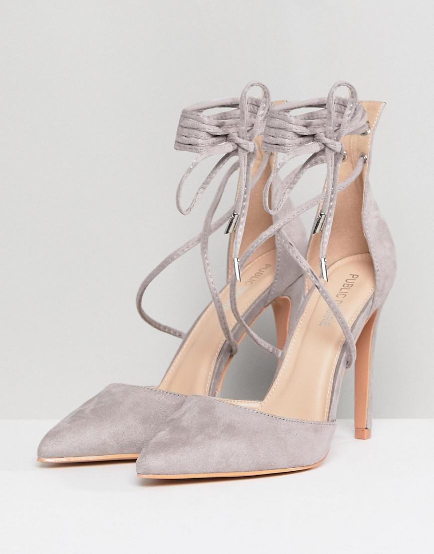 984203467fcd Lyst - Public Desire Aries Gray Tie Up Pumps in Gray