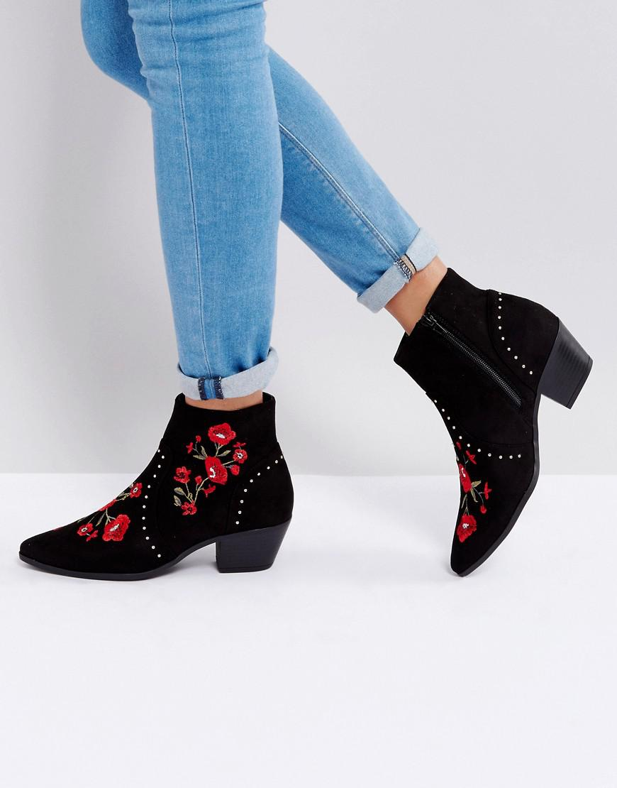 New Look Festival Rose Embroidered Ankle Boots 0NuamdlZ