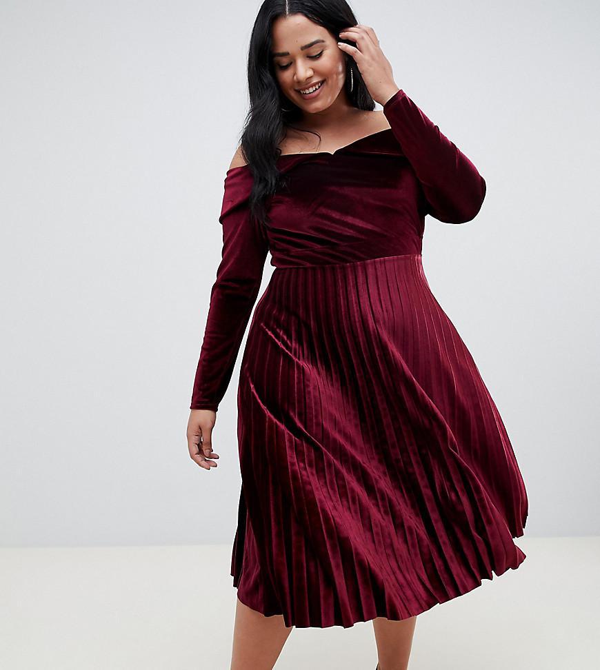 659c6fdb4a97 ASOS Asos Design Curve Pleated Velvet Bardot Midi Dress in Purple - Lyst