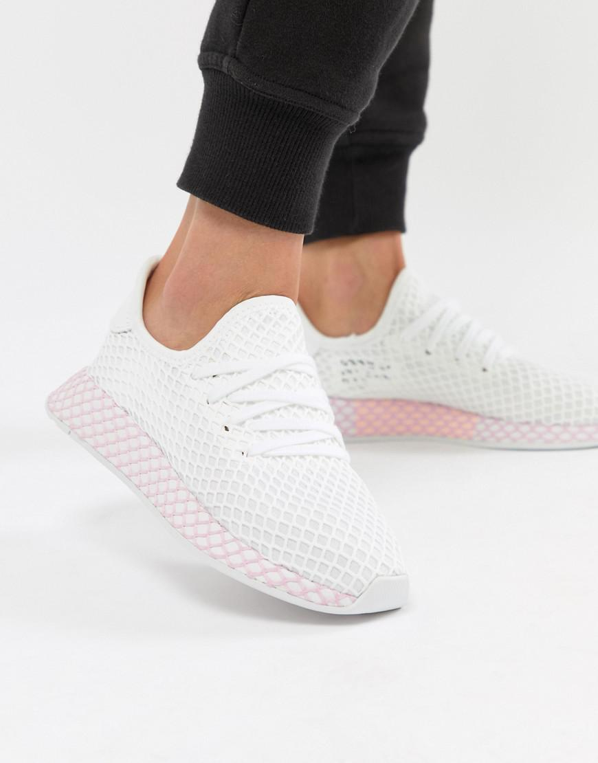 online retailer 96737 34327 adidas Originals. Womens Deerupt Sneakers In White And Lilac