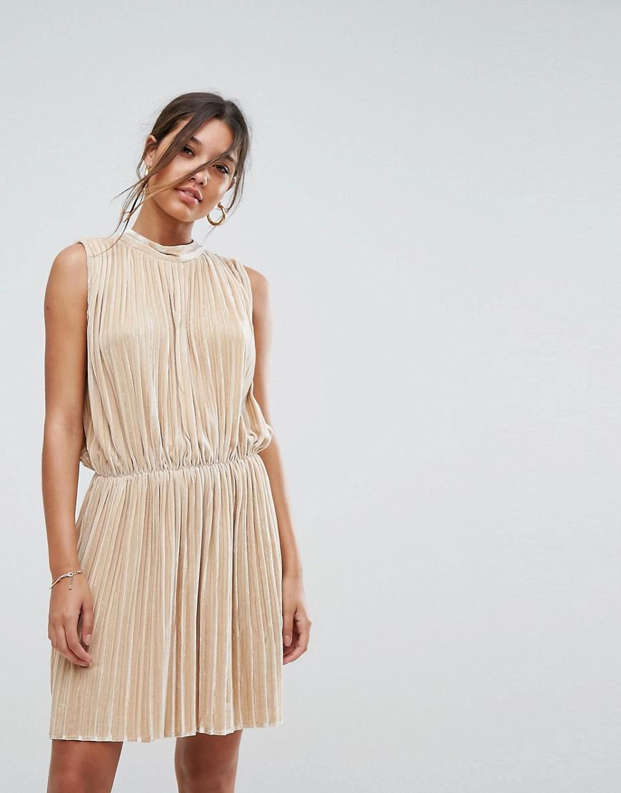 abef1df8eeb Lyst - Aeryne Sleeveless Velvet Pleated Dress in Metallic