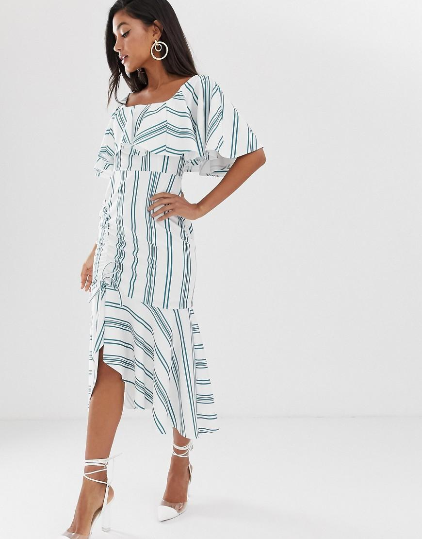 a555730dd253d ASOS. Women's Blue Asos Design Maternity Square Neck Striped Midi Dress  With Ruched Skirt ...