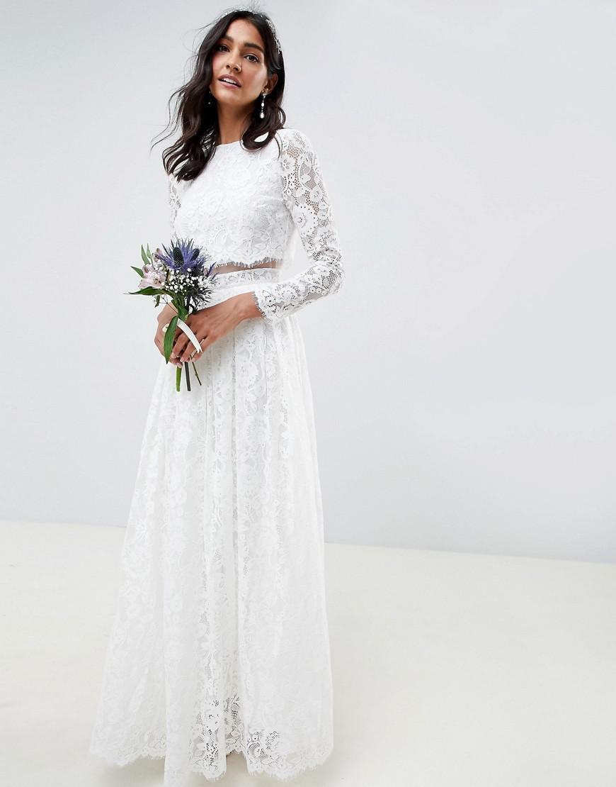 0c88e7579953 ASOS Lace Long Sleeve Crop Top Maxi Wedding Dress in White - Lyst