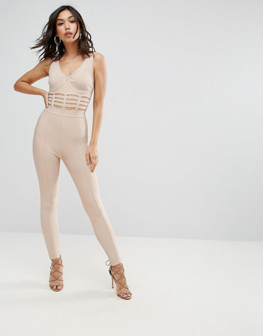 98c4aaa9f5c Asos Premium Bandage Jumpsuit With Caged Waist Detail in Natural - Lyst