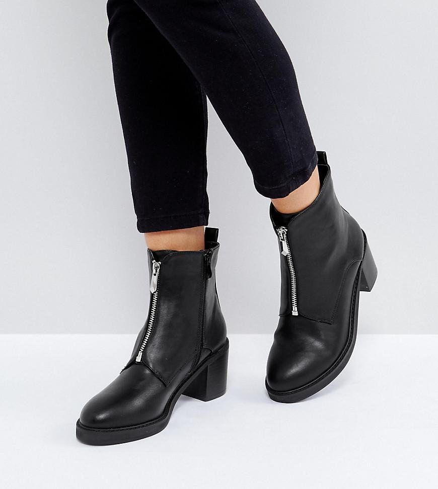 e9e7ce3ee90 The March Black Zip Front Chunky Heeled Ankle Boots in Black - Lyst